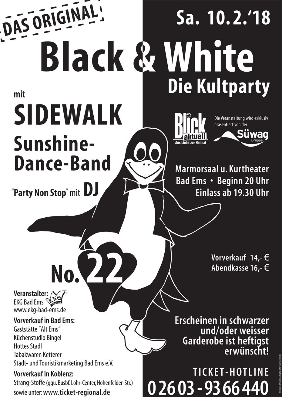 Die Kultparty Black & White am Karnevalssamstag in Bad Ems